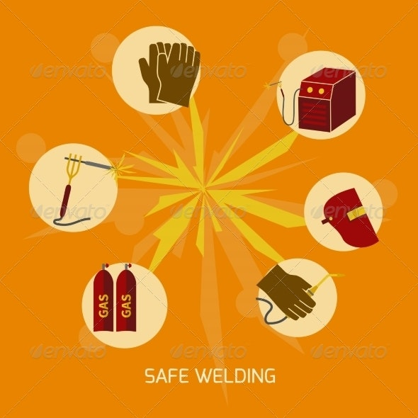 Welder Icons Flat - Industries Business