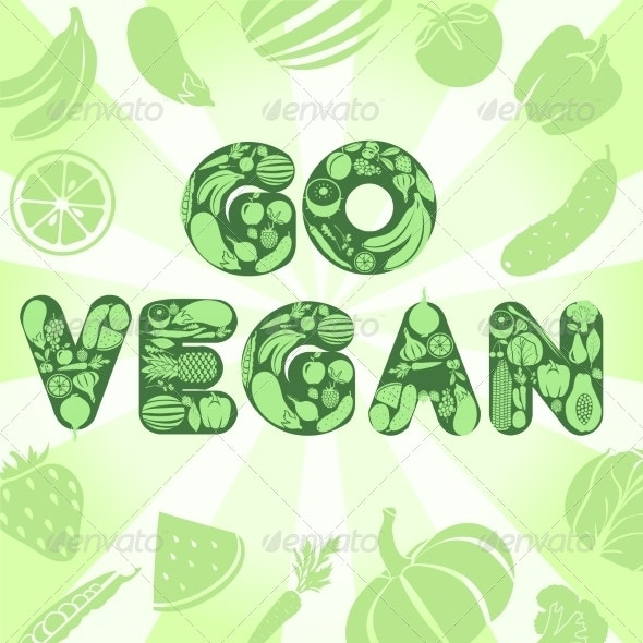 Go Vegan Poster - Food Objects