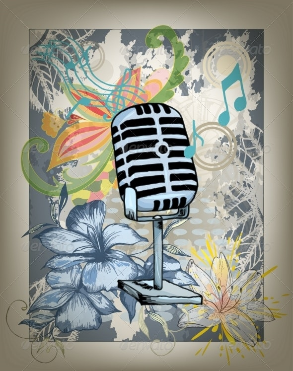 Microphone Hand Drawn Design Card - Backgrounds Decorative