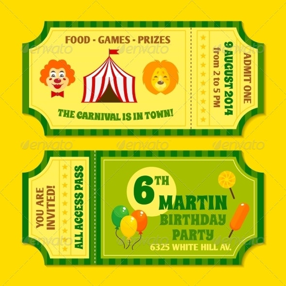 Circus Tickets Template - Decorative Symbols Decorative