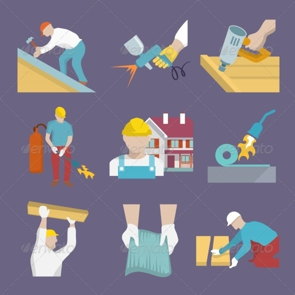 Roofer Icons Flat - Industries Business