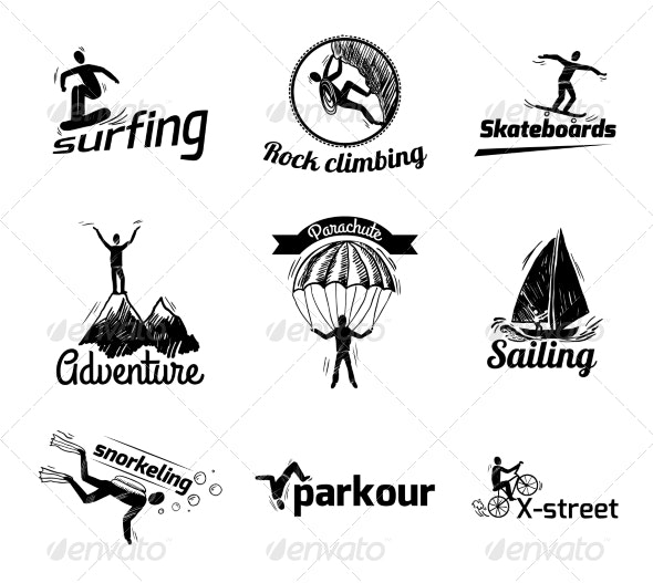 Extreme Sports Label Sketch - Sports/Activity Conceptual