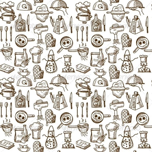 Cooking Icons Seamless Pattern