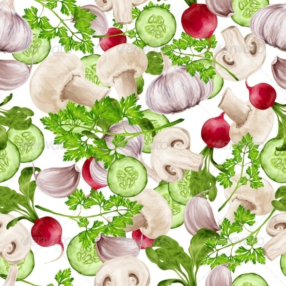 Mixed Vegetables Seamless Background - Food Objects