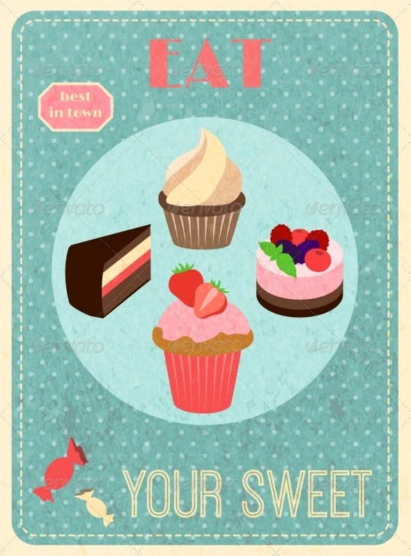 Sweets Retro Poster - Food Objects
