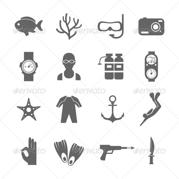 Diving Icons - Sports/Activity Conceptual