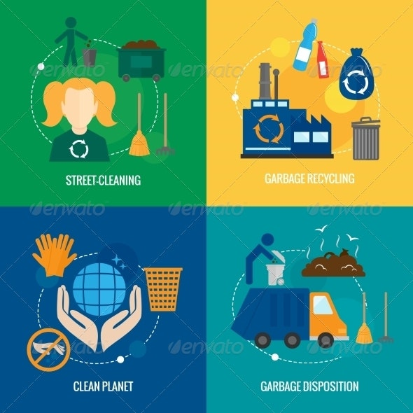 Garbage Icons Composition - Industries Business
