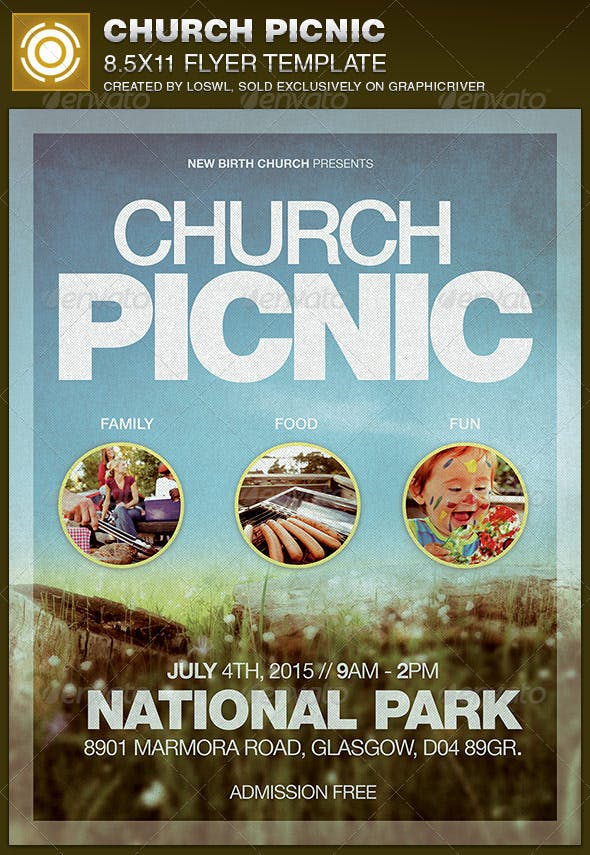 Church Picnic Flyer Template By Loswl Graphicriver