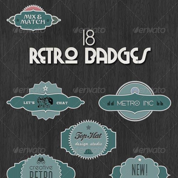 18 Retro Badges - Mix & Match Vintage Labels