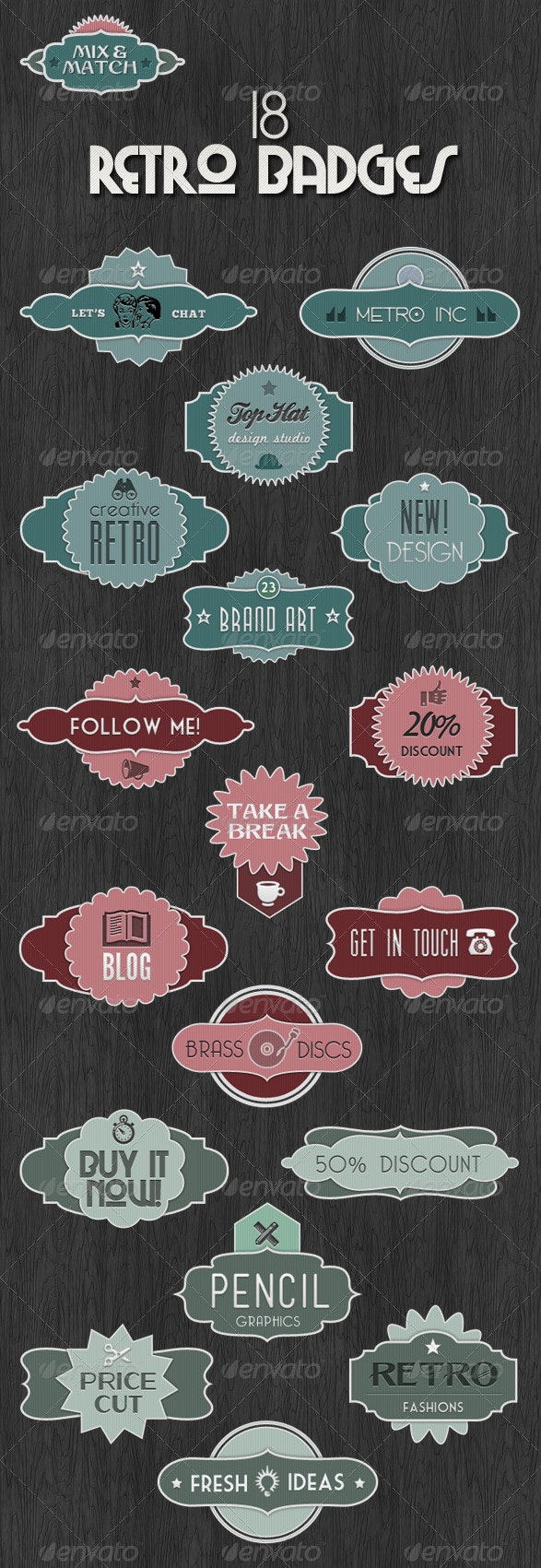 18 Retro Badges - Mix & Match Vintage Labels - Badges & Stickers Web Elements
