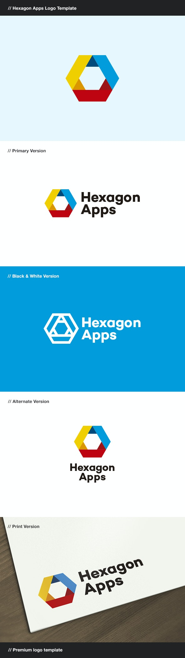 Hexagon Apps - Abstract Logo Templates