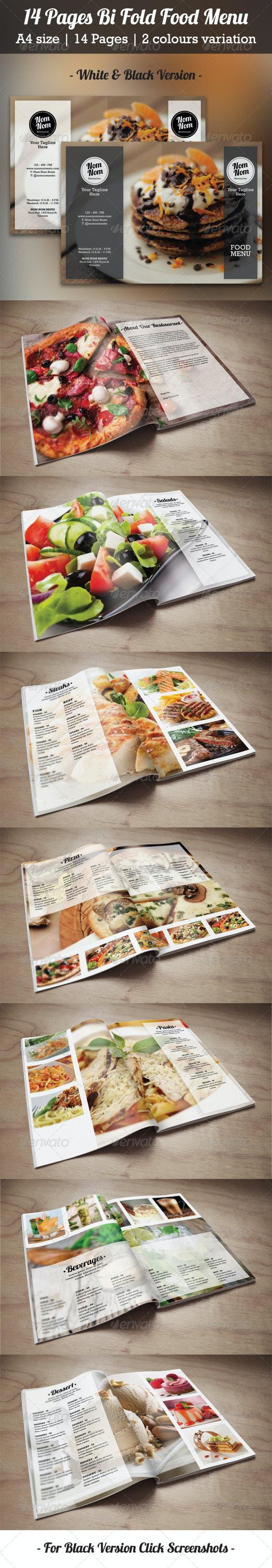 14 Pages Bi Fold Food Menu - Food Menus Print Templates