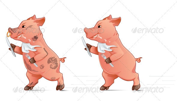 Hungry Pig - Characters Vectors
