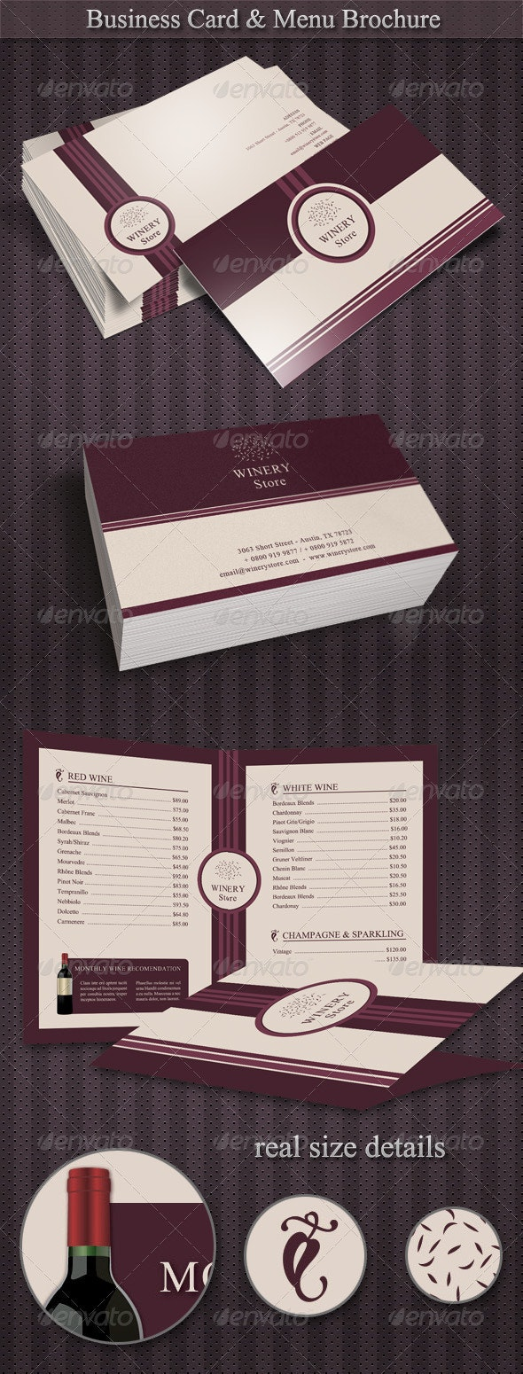 Winery Set - business cards and menu brochure! - Industry Specific Business Cards