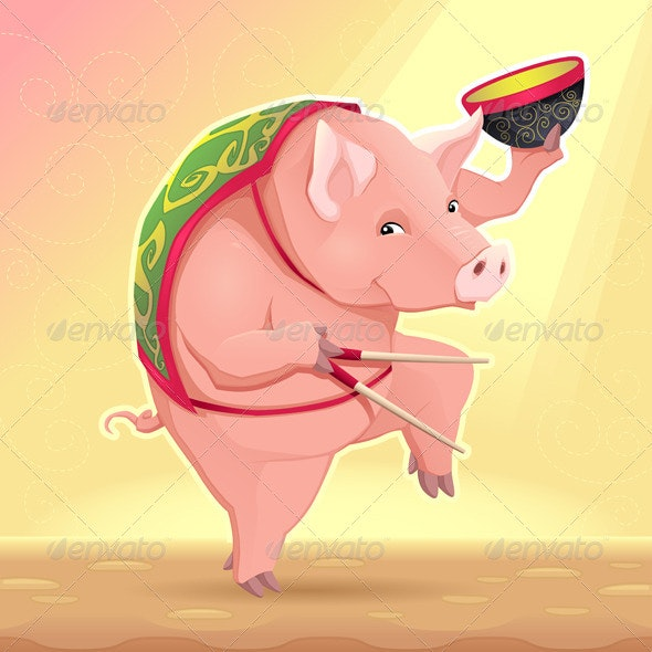 Pig with Soup Bowl  - Food Objects