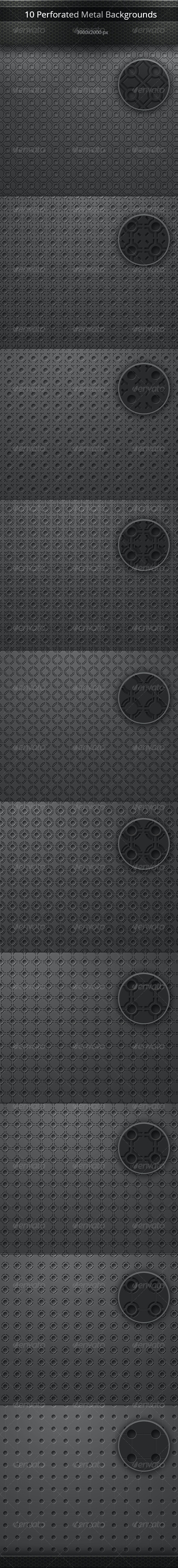 Perforated Metal Backgrounds Set - Backgrounds Graphics
