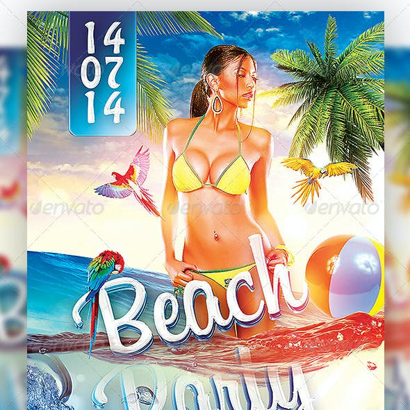 Beach Party - Under Water Flyer Template