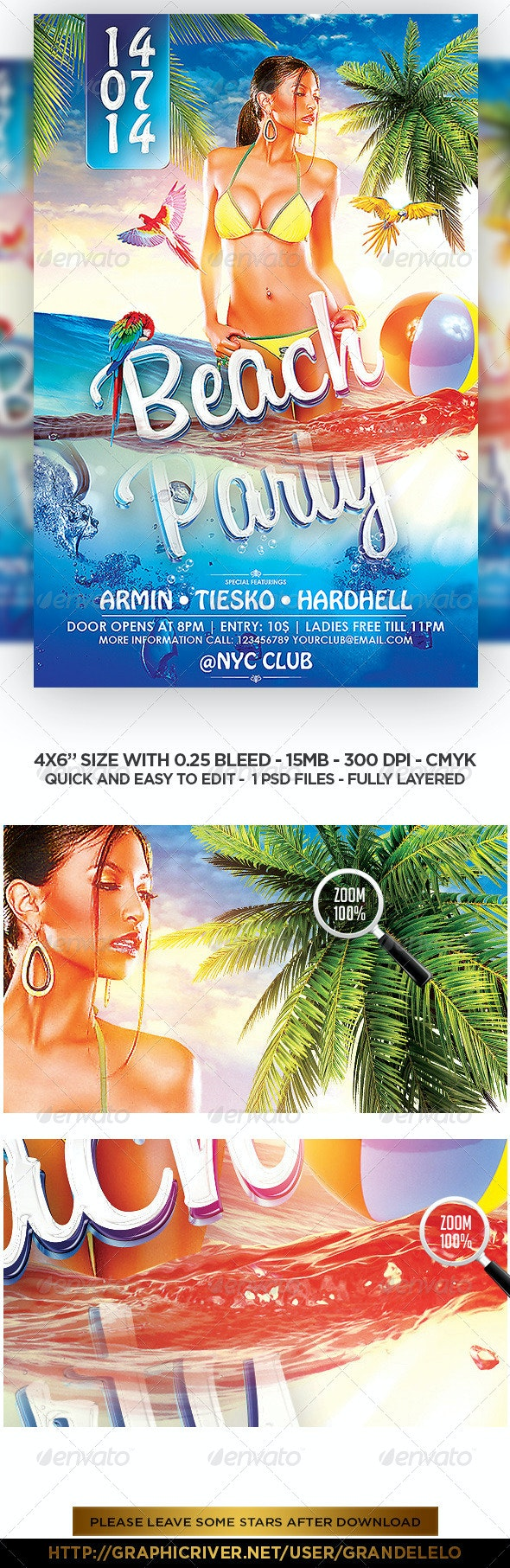 Beach Party - Under Water Flyer Template - Clubs & Parties Events