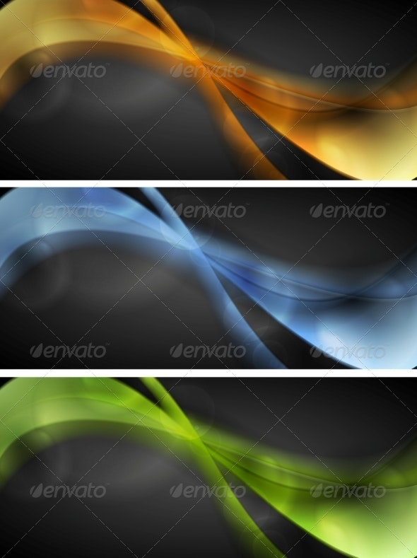 Bright Glowing Wavy Banners - Backgrounds Decorative