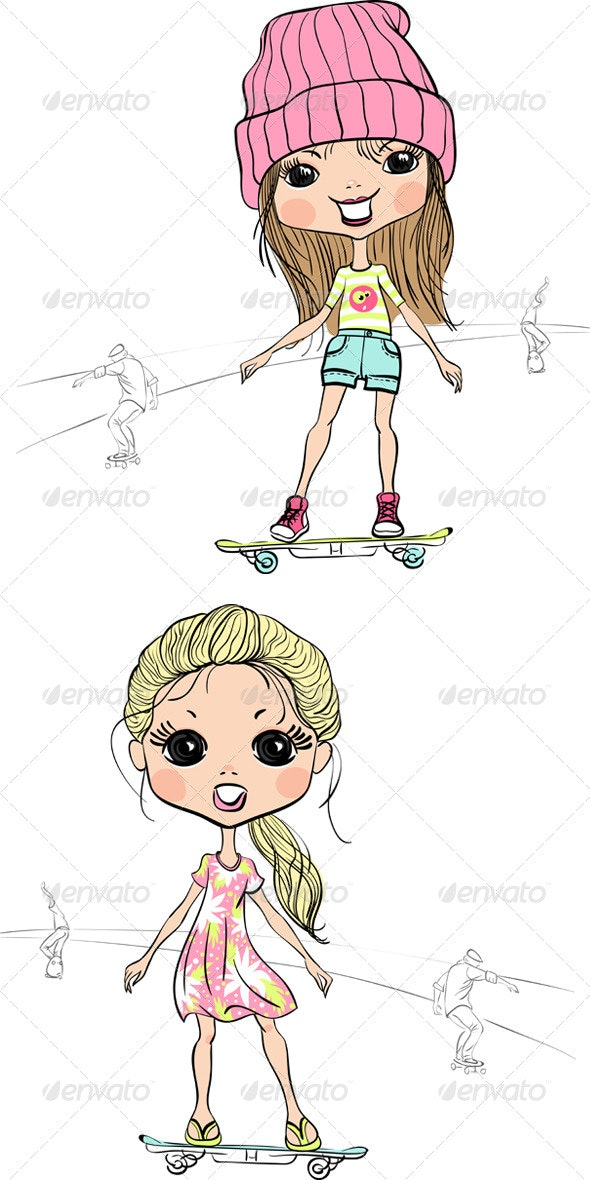 Girls on a Skateboard - People Characters