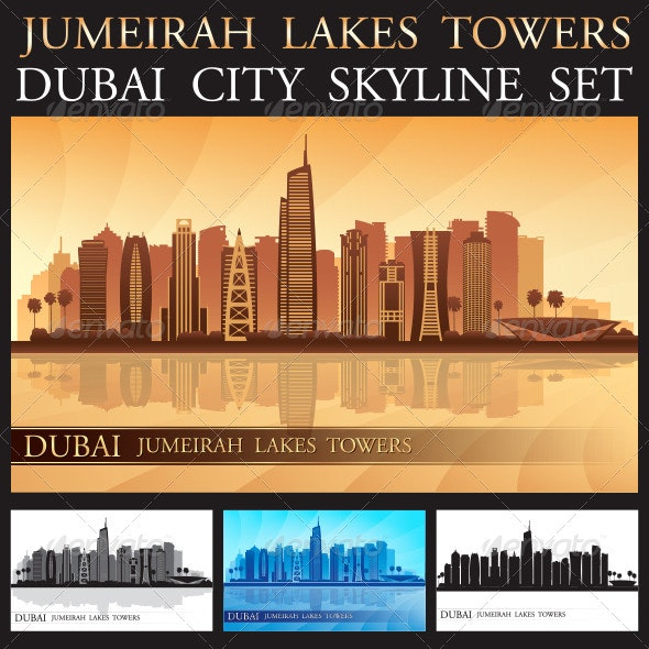 Dubai Jumeirah Lakes Towers Skyline Silhouette Set - Buildings Objects
