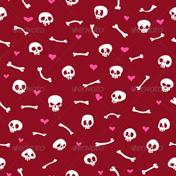 Cartoon Skulls with Hearts on Red Background - Backgrounds Decorative
