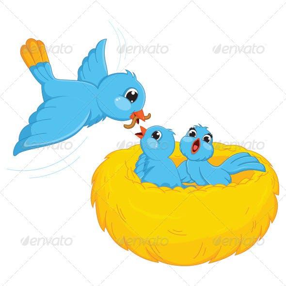 Bird Feed Babies Vector Illustration