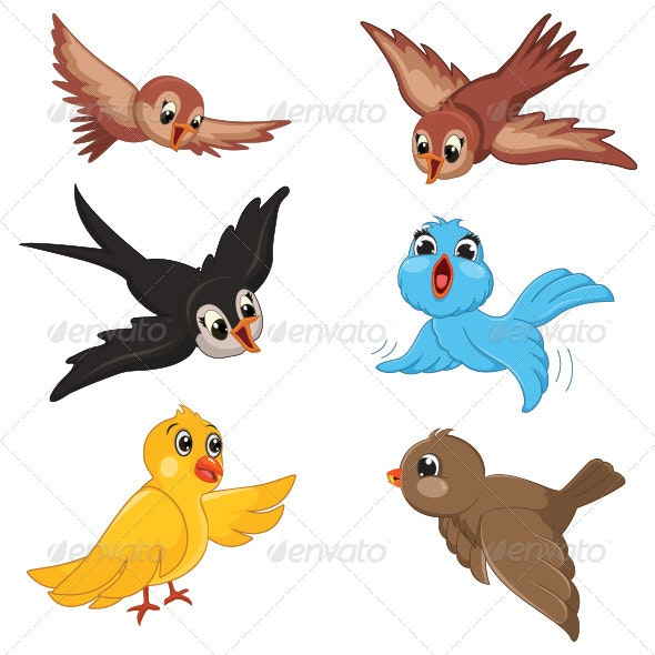 Birds Vector Illustration - Animals Characters
