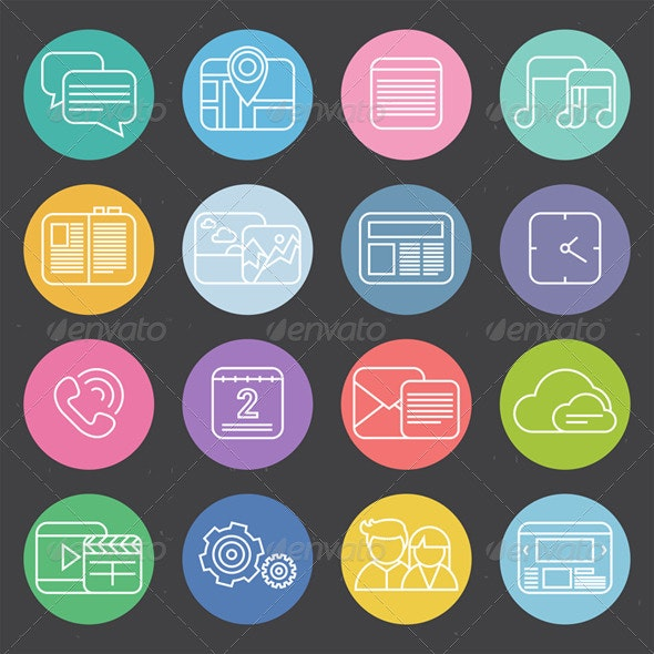 Flat Mobile Phone Icons - Technology Conceptual