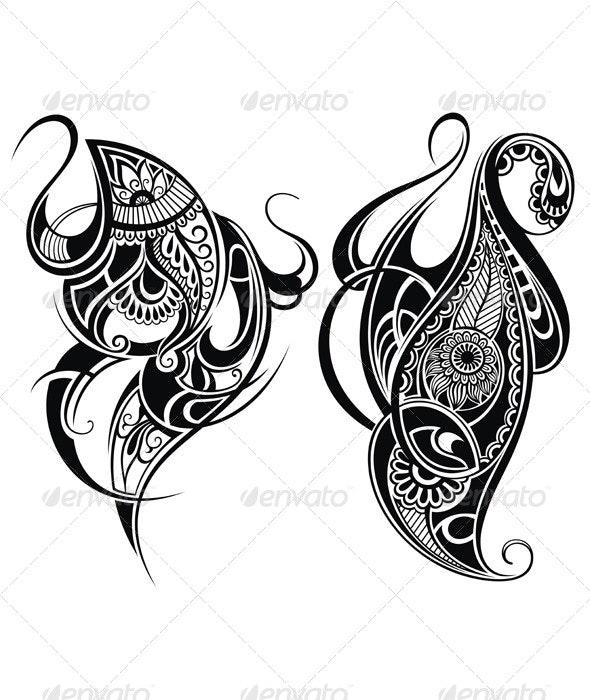 Tattoo Design Elements - Decorative Symbols Decorative