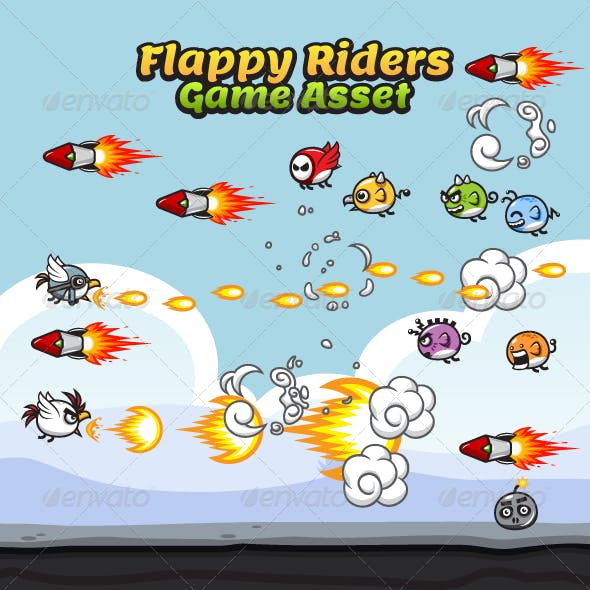 Game Asset - Flappy Rider Sprite Sheets
