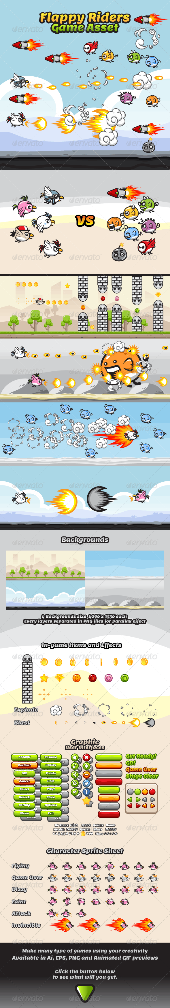 Game Asset - Flappy Rider Sprite Sheets - Game Kits Game Assets