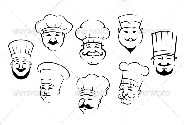 Set of Chefs Heads - People Characters
