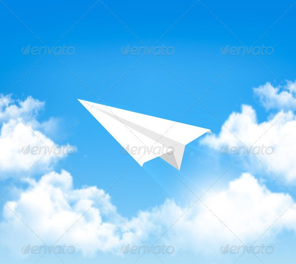 Paper Airplane in Sky with Clouds - Nature Conceptual