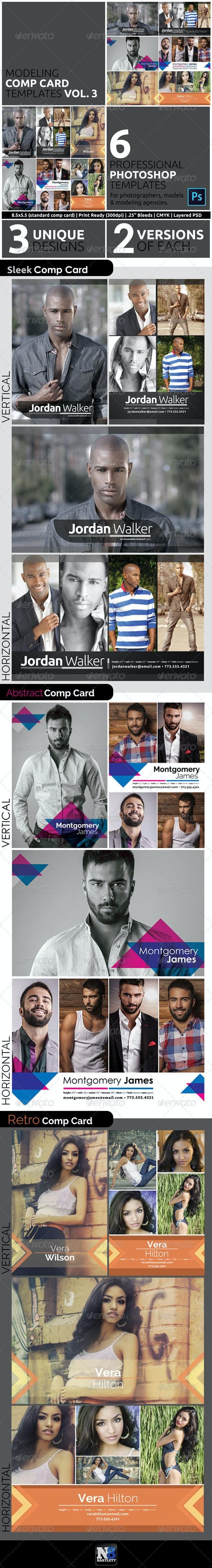 Model Comp Card Template Kit Vol. 3 - Miscellaneous Print Templates