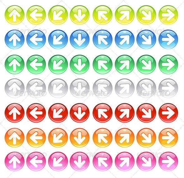 Glass Icons with Symbols Arrows - Web Elements Vectors