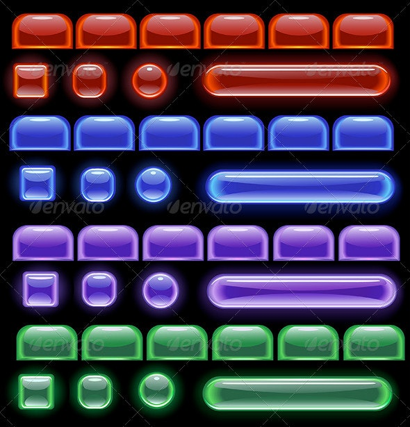 Glowing Computer Buttons - Web Elements Vectors