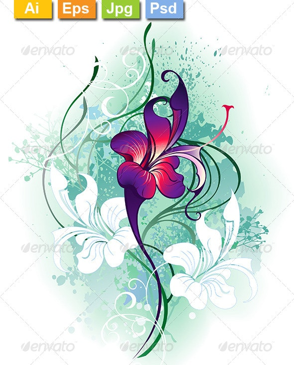 Purple Flower - Tattoos Vectors
