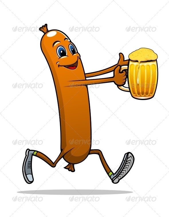 Sausage with Beer - Food Objects