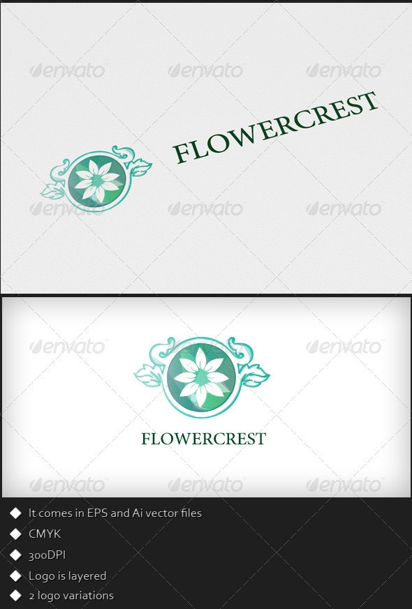 Flower Crest - Logo Template - Nature Logo Templates