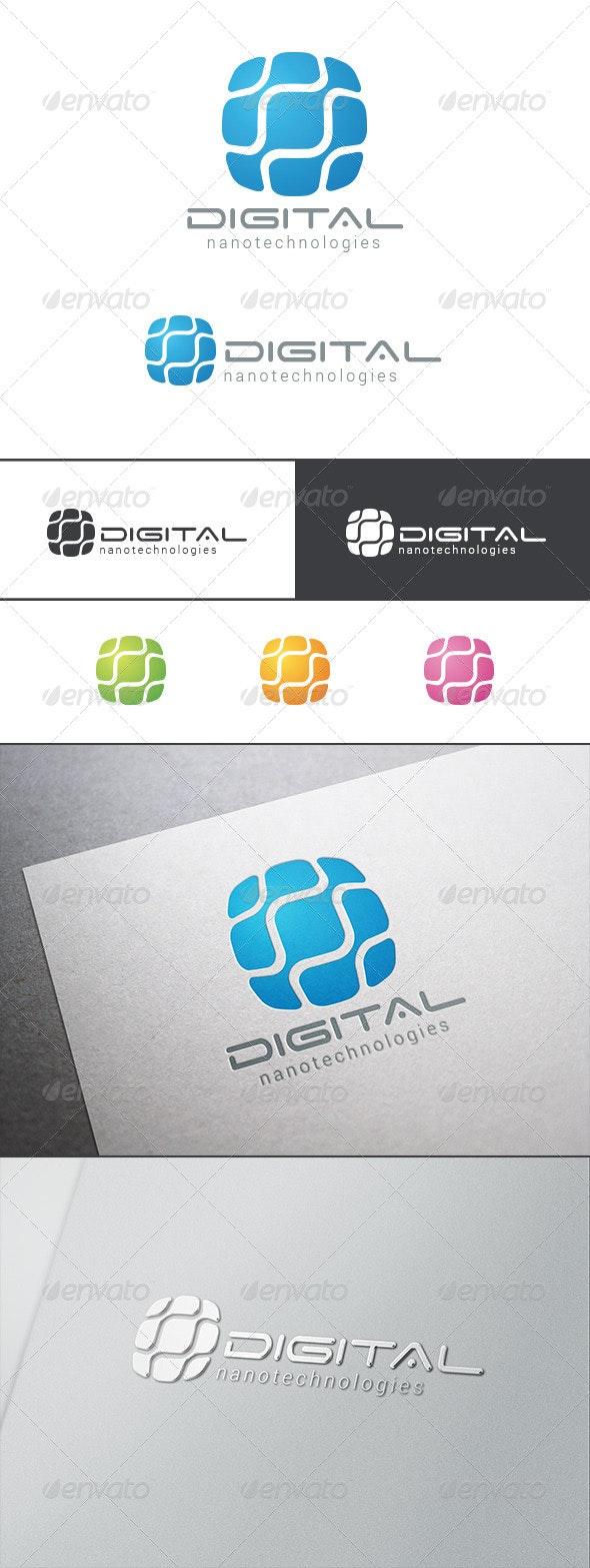DNA Molecule Technology Chip Logo - Abstract Logo Templates