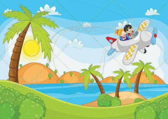 Kids Flying By Plane Illustration - People Characters