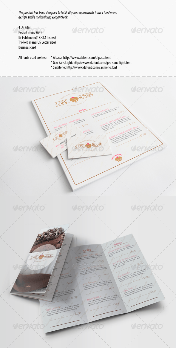 Menu for the Cafe and Restaurant - Food Menus Print Templates