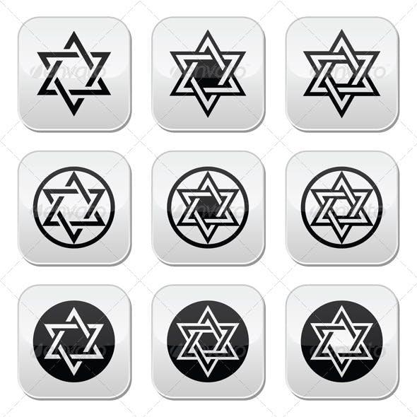Jewish Star of David Icons Set