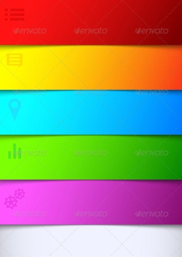 Infographics Bright Rainbow Background List - Web Technology