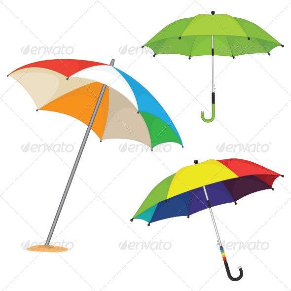 Umbrella Illustrations Set - Backgrounds Decorative