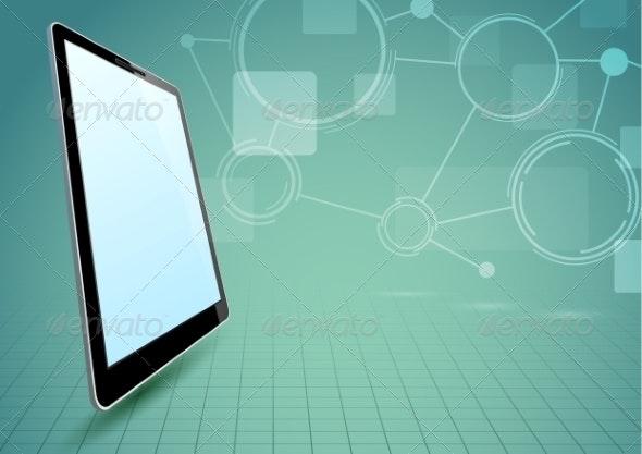 Communications Via Tablet Device - Backgrounds Business