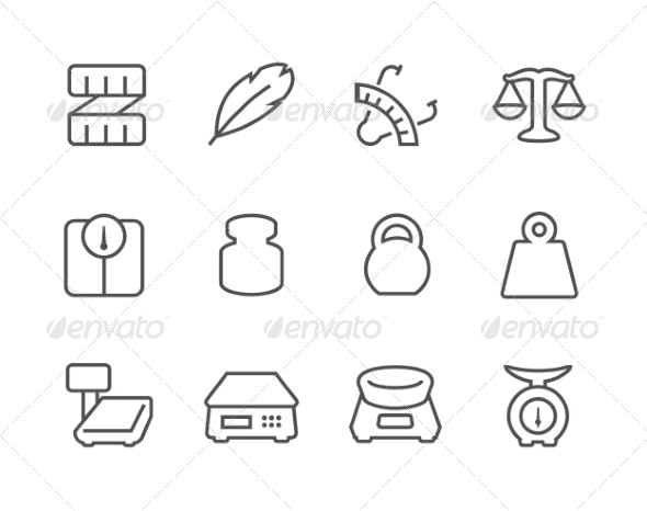Outline Scales and Rulers Icons - Icons