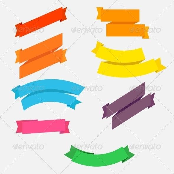 Bright Colorful Flat Ribbons Set - Borders Decorative