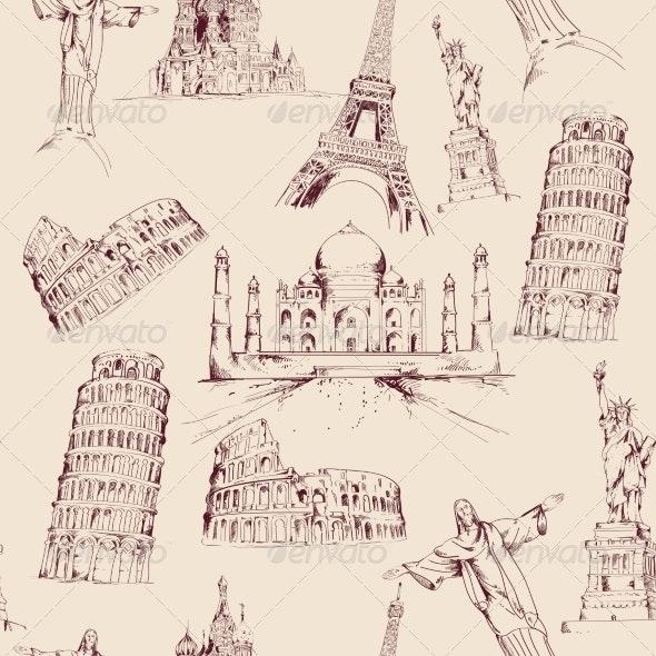 World Landmark Seamless Pattern - Backgrounds Decorative